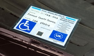 A disabled parking blue badge.
