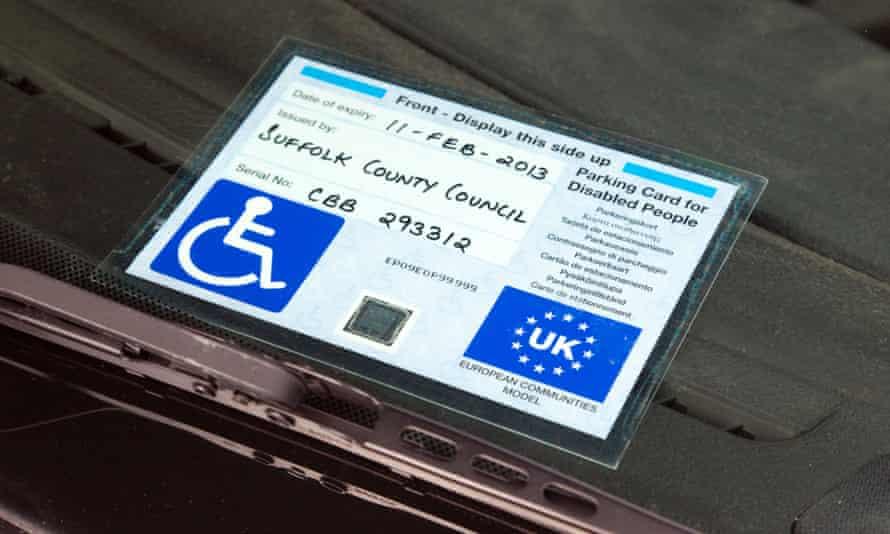 A disabled parking blue badge.