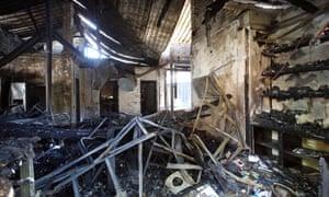 Fire damage at Valeria Gontareva's family home.