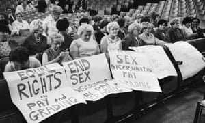 Striking female machinists from the Ford plant in Dagenham attend a women's conference on equal rights in industry, 1968.