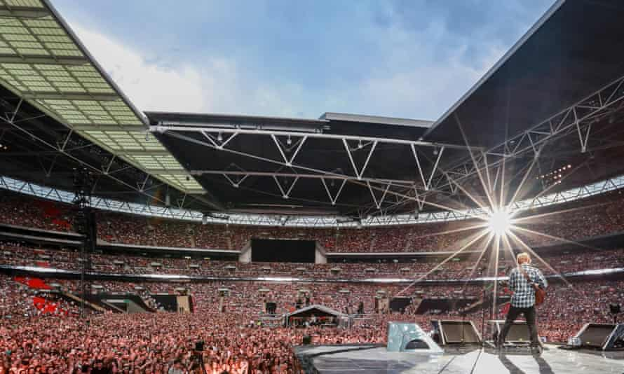 Sheeran on stage at Wembley Stadium in 2015