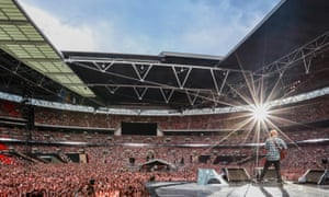Ed Sheeran at Wembley Stadium, view of crowd from behind stage