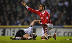 Nottingham Forest's Marcus Tudgay calls for help after Barker sustained his horrific injury.