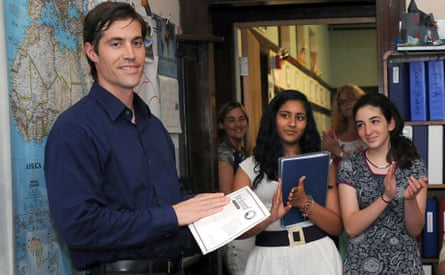 James Foley with students at the Christa McAuliffe Regional Charter Public School in Framingham, Mass, who had worked for his release, June 2011