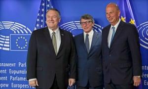 Mike Pompeo with the president of the European Parliament, David-Maria Sassoli, and Gordon Sondland.