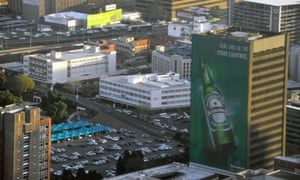 A Heineken ad in an inner city area of Johannesburg in South Africa.