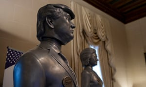 3D-printed 6ft bobbleheads of the US presidential candidates are on display at the the Butler Institute.