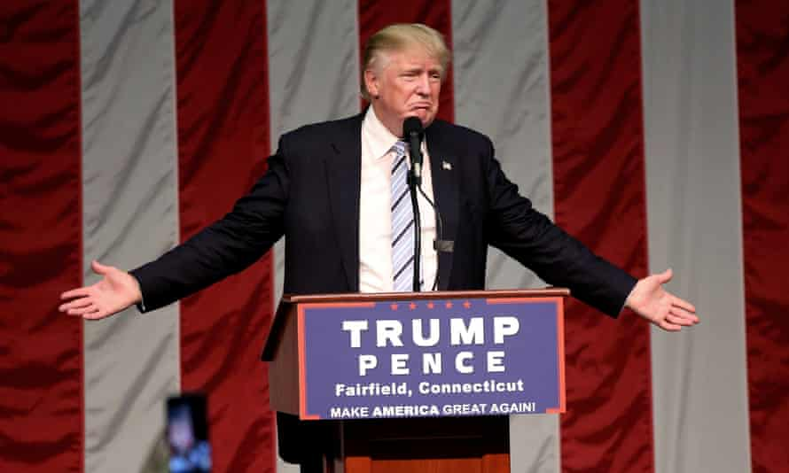 Republican presidential nominee Donald Trump speaks during a 2016 campaign event.