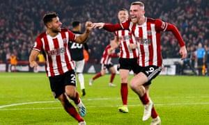 Sheffield United's Oliver McBurnie celebrates