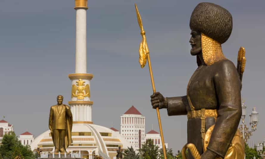 The Independence Monument in Ashgabat, Turkmenistan, with a gold statue of Turkmenbashi.