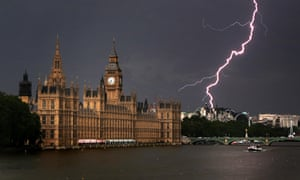 Lightning strikes near the Houses of Parliament, in London, in July 2009.