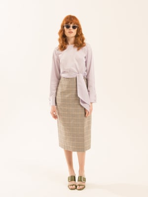 lilac shirt with tied waist Kitristuido.com brown orange cream checked skirt Kitristudio.com khaki green shoes with diamante buckles Senso.com.au clear framed sunglasses illesteva.com