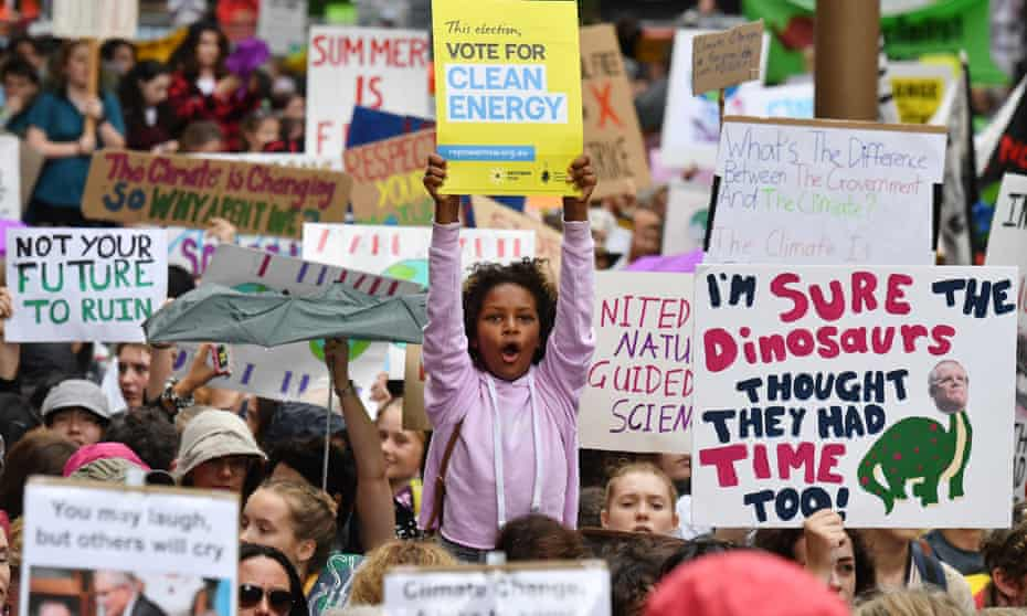 School students attend the global #ClimateStrike rally in Sydney in March