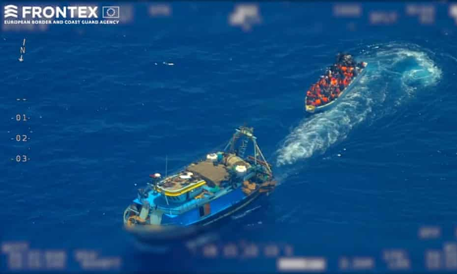 An aerial surveillance video provided by Frontex showing an attempted migrant crossing in the middle of the Mediterranean in June.