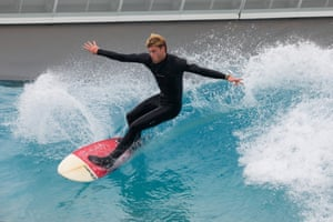 A surfing coach at The Wave
