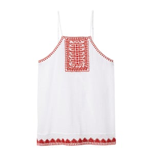 white cotton sleeevless top with red embroidery on front
