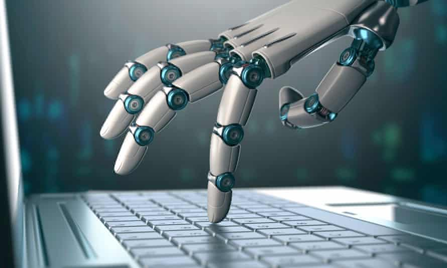 Robotic hand using a laptop computer.