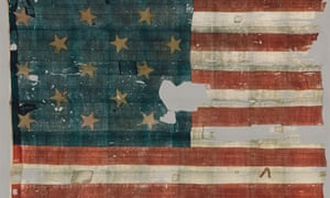 The original star-spangled banner, as seen at the Smithsonian.