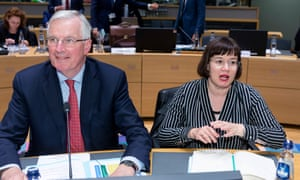 The EU's deputy Brexit negotiator, Sabine Weyand, with Michel Barnier, the chief negotiator