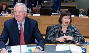 Michel Barnier and Sabine Weyand at a meeting in Brussels