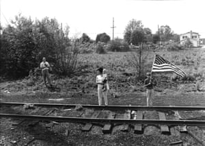 Mourners by the train tracks