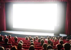 A cinema audience watching a film.
