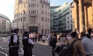 Staff outside Broadcasting House
