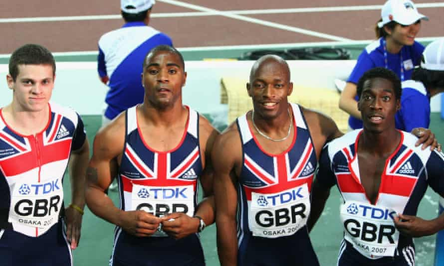 Christian Malcolm (right) with Craig Pickering, Mark Lewis-Francis and Marlon Devonish after competing in the men's 4 x 100m relay at the World Athletics Championships in Osaka in 2007.