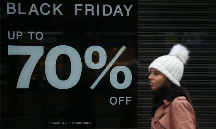 a shop sign advertising 70% off Black Friday deals