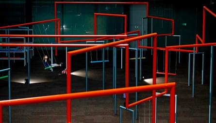 Indoor street … orange swing structures will appear across Southwark as the weeks go by.
