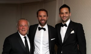 Gareth Southgate with Gordon Taylor and the PFA's chairman, Ben Purkiss