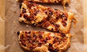 Thin and crispy: pancetta, thyme and fontina tart.