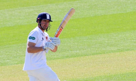 Alastair Cook bats for Essex in an old style helmet that does not comply with a new safety standard.