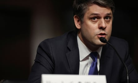 Judge Justin Walker testifies on Wednesday before a Senate judiciary committee confirmation hearing on his nomination to be a US circuit judge for the District of Columbia Circuit.