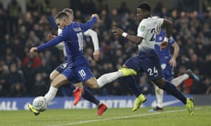 Chelsea's Eden Hazard causes problems for the Spurs defence.