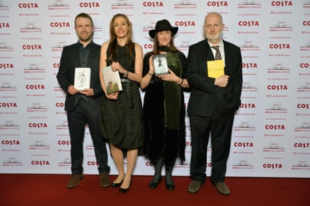 The Loney author Andrew Michael Hurley, The Invention of Nature author Andrea Wulf, The Lie Tree author Frances Hardinge, and 40 Sonnets poet Don Paterson pictured at the Costa Book Awards.