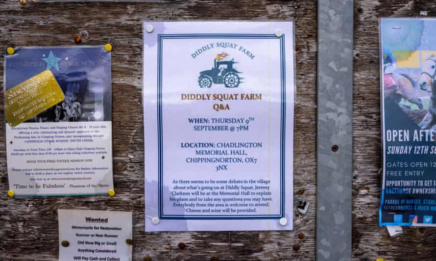 A notice advertising the public meeting where Jeremy Clarkson spoke to local residents about his plans.