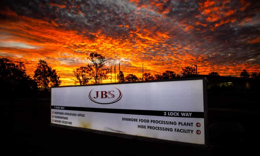 The northern Australian offices of JBS Foods is seen during sunset in Dinmore, west of Brisbane, on Tuesday. Its US operations are based in Greeley, Colorado.