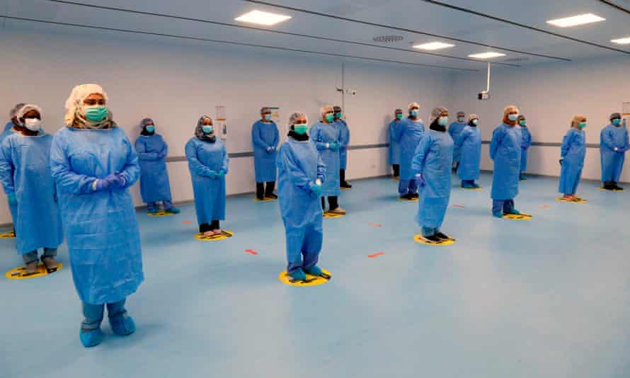 A field hospital in Doha set up by Qatari authorities to treat people infected with the coronavirus Covid-19.