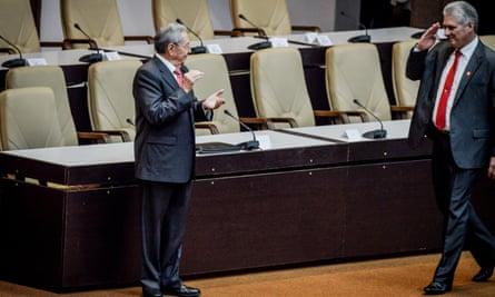 Changing of the guard: Raúl Castro greets his successor, Miguel Díaz-Canel.