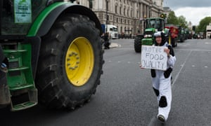 British farmers protesting against the agriculture bill in July 2020, London.