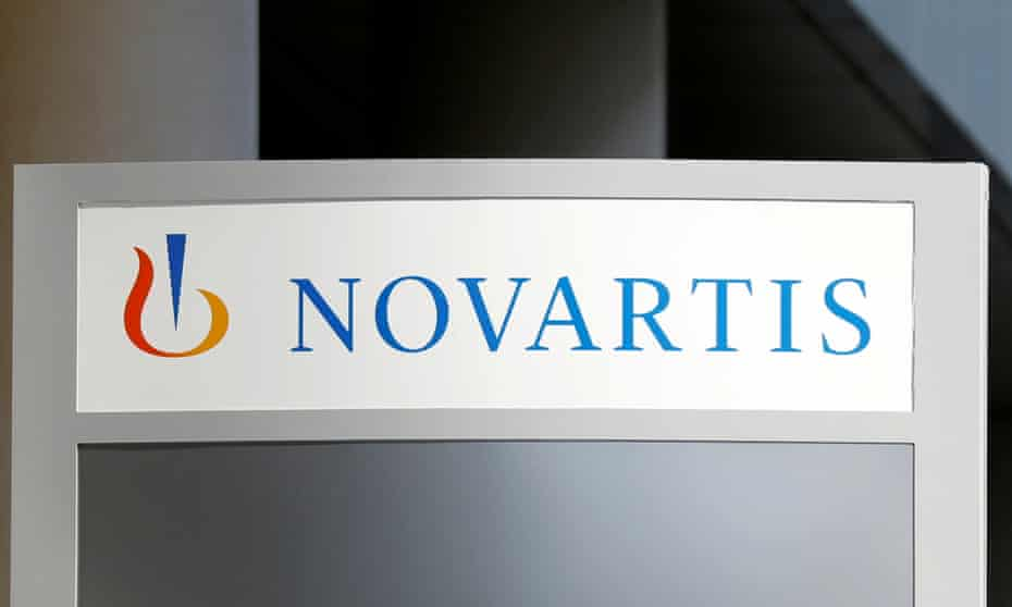 The logo of Swiss drugmaker Novartis is pictured at the company's headquarters in Rueil-Malmaison near Paris, France