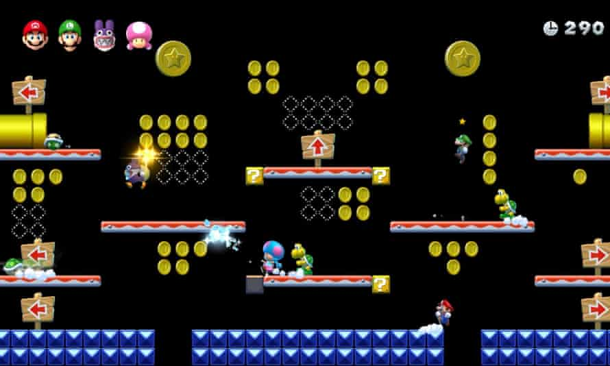 Pinging all over the screen … many hands make fun work in New Super Mario Bros U Deluxe.
