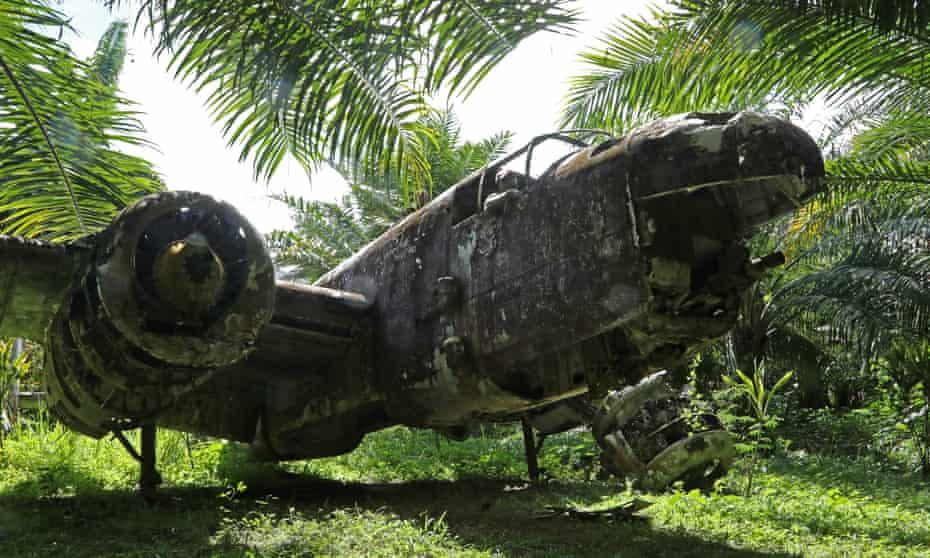 The wreck of a B-25 bomber near Walindi.