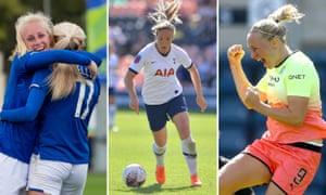 Chloe Kelly (R) of Everton; Gemma Davison of Tottenham Hotspur Women; Pauline Bremer of Manchester City Women