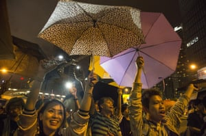 Hong Kong students stage a rally in October 2014 to mark one month since protests began.