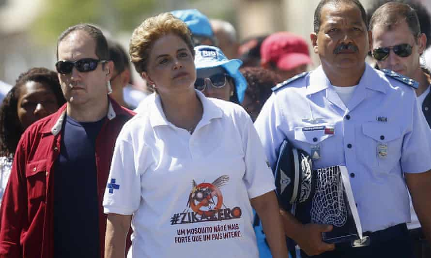 Brazil's president Dilma Rousseff pictured on the national day of action wearing a T-shirt reading: A mosquito is not stronger than an entire country