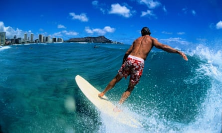 Surfer riding a wave, Waikiki South Shore, Oahu, Hawaii, USA