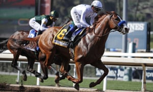 Justify is pictured winning the 2018 Santa Anita Derby.