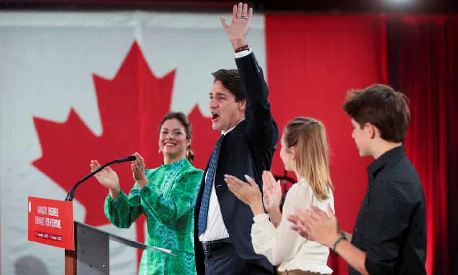 Prime minister Justin Trudeau during the Liberal election night party in Montreal.